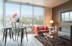 Living room with corner window