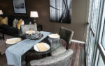 One Bedroom glass dining table