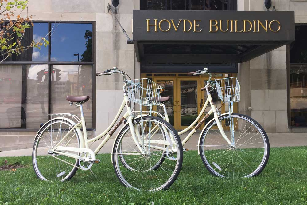 Ovation 309 Bikes in front of Hovde Building